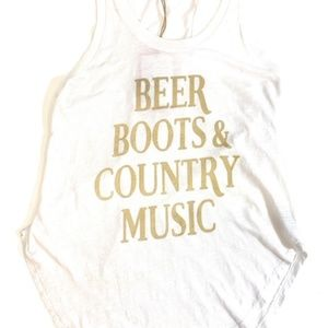 Brokedown Beer Boost & Country Tank White
